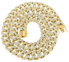 14K Gold Finish Lab Diamond Thick 18MM Mens Heavy Miami Cuban Chain