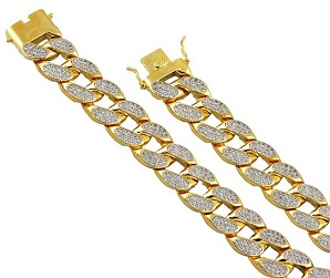 14kt Gold Tone Iced Out Lab Diamond Heavy Miami Cuban Curb Necklace Chain