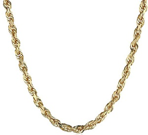14k Yellow Gold Solid Diamond-Cut Rope Chain Necklace