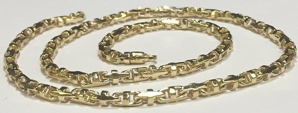 10k Solid Yellow Gold Anchor Mariner Link Chain Necklace 5 MM