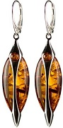 Amber Sterling Silver Luxury Drop Collection Leverback Large Earrings