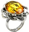 Honey Amber Sterling Silver Faceted Collection Oval Ring
