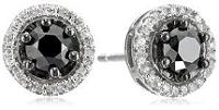 Sterling Silver Black and White Diamond Stud Earrings (1 cttw, I-J Color, I2-I3 Clarity)