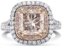 4.09Cts Pink Diamond Engagement Halo Ring Argyle Set in 18K White Rose Gold