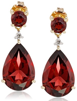 10k Yellow Gold, Gemstone, and Diamond Drop Earrings