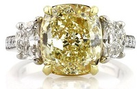 6.37ct Fancy Yellow Cushion Cut Diamond Engagement Ring