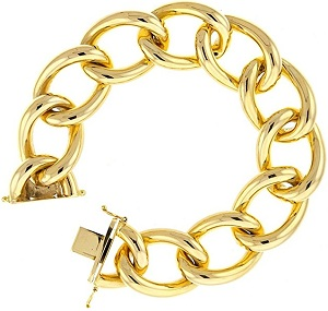 14KT Yellow Gold 22mm High Polish Hollow Link Mens Gold Bracelets - 8.5 Inches