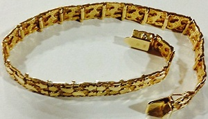 10Kt Solid Gold Mens Nugget Heavy Bracelet 11 Mm 25 Grams 8 Inches