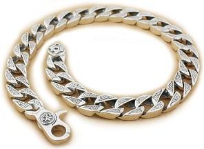 925 Sterling Silver Mens Biker Rocker Punk Necklace