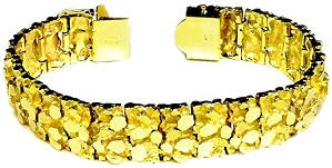 14kt Solid Yellow Gold Handmade Mens Nugget Bracelet 17 mm 100 grams 9.5 Inches