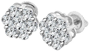 Earrings 14KT White gold 2.00 Carats Genuine, Natural Diamonds