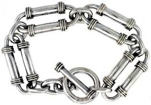 Sterling Silver Heavy Double Tube Link Bracelet