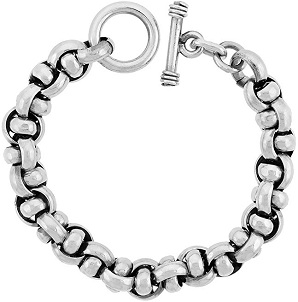 Sterling Silver Interlaced Circles Link Bracelet Toggle Clasp Handmade