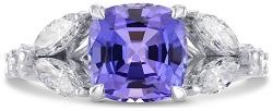 Tanzanite Cushion & Marquise Diamond Ring (3.37Ct TW)