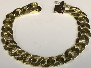 14Kt Solid Yellow Gold Heavy Handmade Curb Link Mens Bracelet 8 Inches 38 Grams 10 Mm