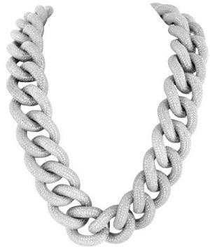 Miami Cuban Necklace Bracelet Set White Gold On 925 Silver Cubic Zirconia