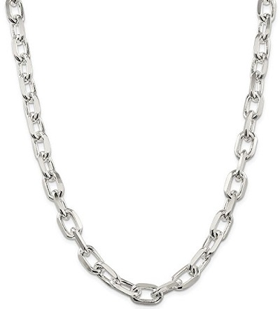 Sterling Silver 11.5 mm Diamond-cut Open Link Cable Chain