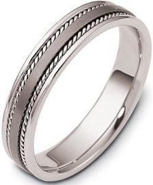 5mm Rope Style Titanium & 18 Karat White Gold Wedding Band Ring