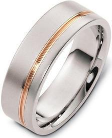 Stylish 7mm Titanium and 18 Karat Yellow Gold Wedding Band Ring