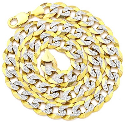 LoveBling 10K Yellow Gold 14mm Solid Pave Two-Tone Curb Chain Necklace with White Gold Pave Diamond Cut With Lobster Lock