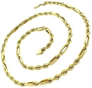 14k Yellow Gold 5.5mm Hollow Milano Figaro Rope Diamond Cut Chain Necklace