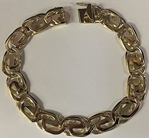 14Kt Solid Yellow Gold Handmade Link Men'S Bracelet 8 Inches 13 Mm 45 Grams