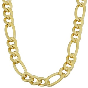 14K Yellow Gold Filled Solid Figaro Chain Necklace, 7.0 mm Wide