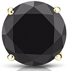 14k Gold 4-Prong Basket Round Black Diamond Men SINGLE STUD Earring