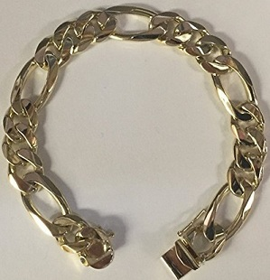 14K Solid Yellow Gold Figaro Handmade Figaro Curb Link Mens Bracelet 8 Inches 47 Grams 12Mm