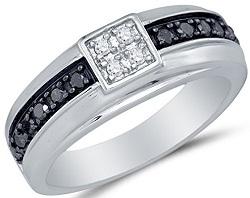 10K White Gold Black & White Round Diamond Mens Wedding Band Ring