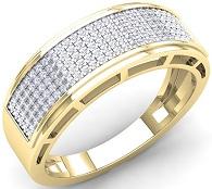 0.40 Carat (Ctw) 10K Gold Round White Diamond Men's Hip Hop Anniversary Wedding Band