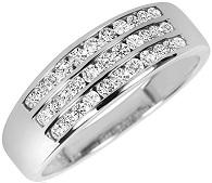 Round Cut Diamond Men's Wedding Band 14K White Gold
