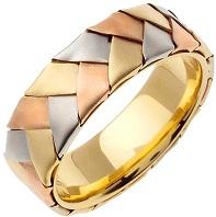 14K Tri Color Gold Braided Basket Weave Men's Comfort Fit Wedding Band (7mm)