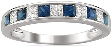 14k White Gold Princess-cut Diamond and Blue Sapphire Wedding Band Ring