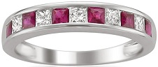 14k White Gold Princess-cut Diamond and Red Ruby Wedding Band Ring