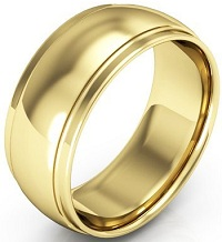 18k Yellow Gold Men's And Women's Plain Wedding Bands 8mm Half Round Edge Comfort Fit
