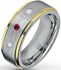 Men's 0.21ctw Ruby & Diamond 3-Stone Wedding Band
