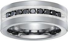 Triton Men's Tungsten and Silver 8mm Black Diamond Wedding Band