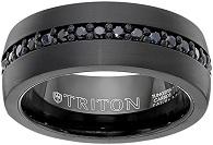 Triton Men's Black Tungsten 8mm Black Sapphire Wedding Band (1cttw)
