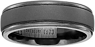Men's Tantalum 7mm Comfort-Fit Matte Finish with Polished Round Edges Wedding Band
