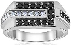 Mens Black And White Diamond Wedding Ring 10k White Gold