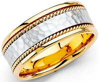 14k Two Tone Gold 8mm Comfort Fit Wedding Band