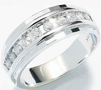 10k White Gold Classic Channel Set Round Cut Mens Diamond Wedding Ring Band 7mm