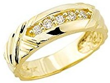 Men's 14k Yellow Gold-Stone Set Diamond Wedding Ring Band