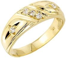 Men's 10k Yellow Gold 5-Stone Diamond Wedding Ring Band