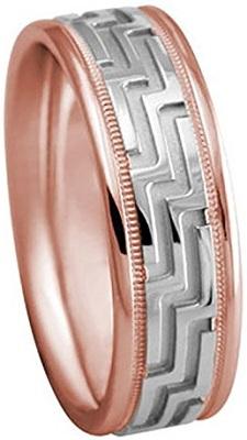 Men's Two Tone 18k Rose White Gold Designer Milgrain 7mm Comfort Fit Wedding Band