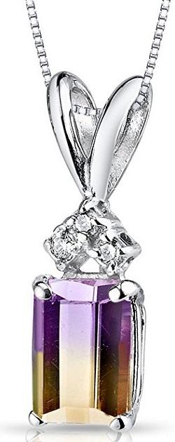 14 Karat White Gold Emerald Cut 1.00 Carats Ametrine Diamond Pendant