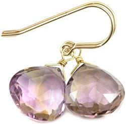 14k Gold Filled Ametrine Earrings Heart Shaped Faceted Briolette Teardrops Purple Yellow