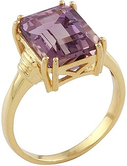 18KT Yellow Gold Over Sterling Silver 4.35cttw Octagon Ametrine Solitaire Ring