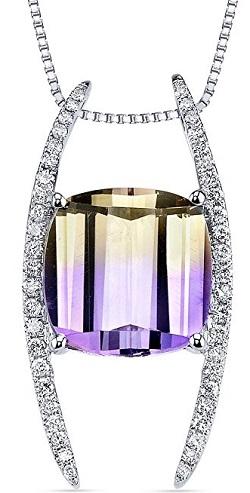 14 Karat White Gold Cushion Cut 5.00 carats Ametrine Diamond Pendant